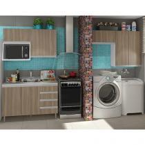 Kit Cozinha Completa Móveis Veneza - Nicho para Micro-ondas 8 Portas 4 Gavetas