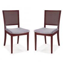Kit de 2 Cadeiras Belle em Madeira Maciça com Estofado e Encosto de Fibra Rattan  - Castanho - Seiva