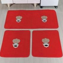 Kit de Cozinha 3 Peças Chefe Vermelho - Colorido - Guga Tapetes