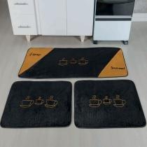 Kit de Cozinha 3 Peças xicaras Preto - Colorido - Guga Tapetes