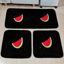 Kit de Cozinha Melancia 3 Peças Preto - Rosa - Guga Tapetes