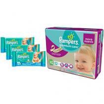 Kit de Fraldas Pampers Premium Care Mega Tam XG - com 32 Unidades + 3 Pacotes de Lenços Umedecidos