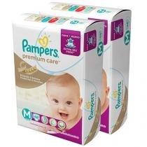 Kit de Fraldas Pampers Premium Care Tam M - 2 Pacotes com 48 Unidades cada