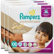 Kit Fraldas Pampers Premium Care Mega Tam XXG - 3 Pacotes Com 32 Unidades Cada