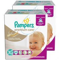 Kit Fraldas Pampers Premium Care Tam XG - 2 Pacotes com 60 Unidades Cada