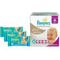Kit Fraldas Pampers Premium Care Tam XG - Com 60 Unidades + 3 Pacotes de Lenços Umedecidos