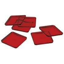 Kit Porta Copo Translúcido de Plástico Vermelho - Vermelho - UZ Utilidades