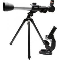 Kit Telescópio de Refração Zoom 20x 30x 40x - Lente 50mm com Tripé e Microscópio