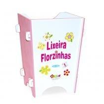 Lixeira Florzinhas em MDF Branco/Rosa 1664 - Carlu - Carlu