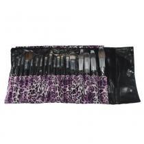 Macrilan Kit com 18 Pincéis para Maquiagem Profissional - Onça Rosa KP3-8B - Macrilan