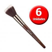 Macrilan Kit com 6 Pincéis de Maquiagem Duo Fiber Linha Madeira - M109 - Macrilan