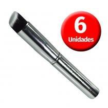 Macrilan Kit com 6 Pincéis p/ Base Kabuki Chanfrado Linha Silver - S-09 - Macrilan