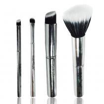 Macrilan Kit Pincéis de Maquiagem Linha Silver - 4 Peças - Macrilan
