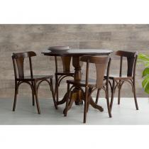 Mesa de Jantar Redonda Torneada Sid com 4 Cadeiras Londres em Madeira Maciça/ MDF - Verniz Pinhão - Ativa