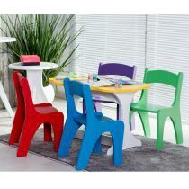 Mesa Infantil com 4 Cadeiras Coloridas em MDF - Laca Branco/Amarelo - Ativa