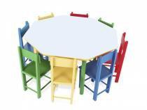 Mesa Infantil Oitavada com 8 Cadeiras de Madeira 5018 - Carlu - Carlu