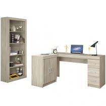 Mesa para Computador e Escrivaninha 2 Portas - 3 Gavetas com Estante Politorno Conjunto Itapeva