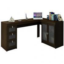 Mesa para Computador/Escrivaninha Espanha 2 Portas - 3 Gavetas com Vidro - Politorno 117704