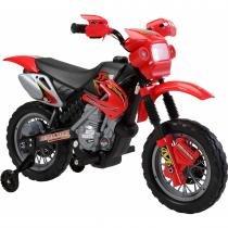Moto Elétrica Infantil com Farol e Buzina Vermelha 925800 - Belfix - Belfix