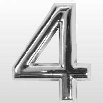Numero (4) 39mm Auto Adesivo Em Abs Cromado  Bemfixa - BEMFIXA