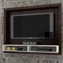 """Painel de TV de até 42"""" com 2 Nichos - Acabamento BP Fosco - Branco/ Tabaco - BRV"""
