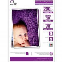 Papel Fotográfico Especial A6 200g/m2 com 20 Folhas PE010 - Multilaser - Multilaser