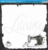 Papel Scrapbook Dupla Face Máquina de Costura SD-037 - Litoarte - Litoarte