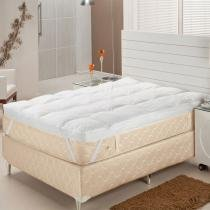 Pillow Top King Fibra Siliconizada em Flocos 193x203x7 cm - Branco - Plumasul