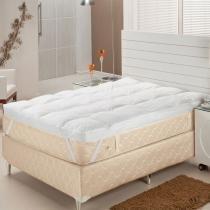 Pillow Top King Pluma de Ganso 193x203x7 cm - Branco - Plumasul