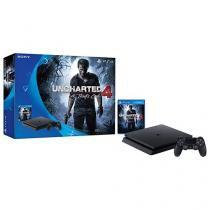 Playstation 4 Slim 500GB Sony 1 Controle + Jogo - Uncharted 4 - Nacional com 1 Ano de Garantia