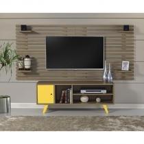 Rack com Painel para Sala de TV 1 Porta 3 Nichos Elegance - 100 MDF - Amadeirado e Laca Amarelo - CasaTema