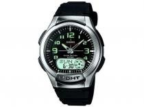 Relógio de Pulso Masculino Fashion Anadigi - Cronômetro Casio Mundial AQ-180W-1BVD