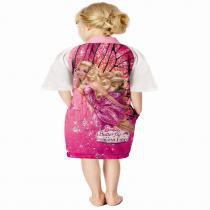 Roupão Aveludado Quimono Transfer Barbie Butterfly Tamanho M - Lepper - Padrão 1 - M - Lepper
