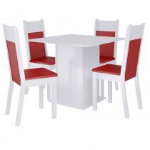 Sala de Jantar Alana + 4 Cadeiras Branco/Vermelho - Madesa - Marrom - Madesa