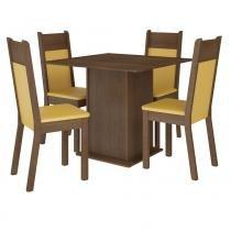 Sala de Jantar Alana + 4 Cadeiras Rústico/Amarelo - Madesa - Marrom - Madesa