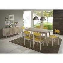 Sala de Jantar com Mesa, 6 Cadeiras e Buffet Rústico em Madeira Maciça - Areia/ Branco / Amarelo - CasaTema
