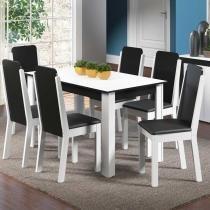 Sala de Jantar Dakota + 6 Cadeiras Branco/Preto - Madesa - Marrom - Madesa