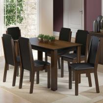 Sala de Jantar Dakota + 6 Cadeiras Imbuia/Preto - Madesa - Marrom - Madesa