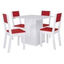 Sala de Jantar Iara + 4 Cadeiras Branco/Vermelho - Madesa - Marrom - Madesa