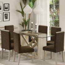 Sala de Jantar Jamy + 6 Cadeiras Acacia/Jamy - Madesa - Marrom - Madesa