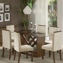 Sala de Jantar Jamy + 6 Cadeiras Rústico/Freja - Madesa - Marrom - Madesa