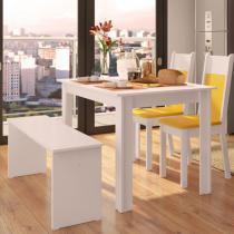 Sala de Jantar Mara + 2 Cadeiras + 1 Banco Branco/Amarelo - Madesa - Marrom - Madesa
