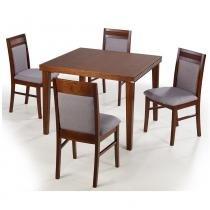 Sala de Jantar Modena Mesa 90cm 4 Cadeiras - Acabamento Verniz Poliuretano - Madeira Taeda Castanho - Seiva