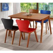 Sala de Jantar Primer Mesa de 120cm 4 cadeiras - Madeira Lyptus/Lâmina Jequitibá Sunset/Az/Verm/Pto - Seiva
