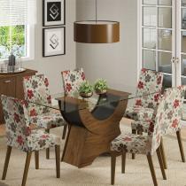Sala de Jantar Sinuosa + 6 Cadeiras Rústico/Preto/Hibiscos - Madesa - Marrom - Madesa