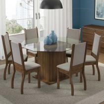 Sala de Jantar Viena + 6 Cadeiras Rústico/Suéde Pérola - Madesa - Marrom - Madesa