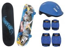 Skate Infantil Hot Weels 7620-5 - com Capacete Cotoveleira Joelheira Fun
