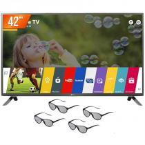 "Smart TV LED 3D 42"" LG Full HD 3 HDMI 3 USB Wi-Fi Integrado 42LF6500 + 4 Óculos 3D - Lg"