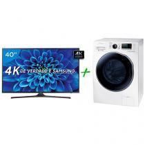 "Smart TV LED 40"" Samsung 4K/Ultra HD 40KU6000 - Conversor Digital + Lava e Seca 9Kg Samsung WD6000"