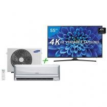 "Smart TV LED 55"" Samsung 4K/Ultra 55KU6000 - Conversor Digital + Ar-Condicionado Split Samsung"